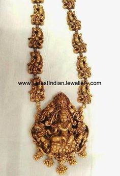 Magnificent Nakshi Haram in Pure Gold - Latest Indian Jewellery Designs Gold Temple Jewellery, Gold Jewellery Design, India Jewelry, Gold Jewelry, Jewelery, Indian Wedding Jewelry, Bridal Jewelry, Indian Bridal, Jewelry Patterns