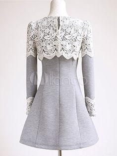 Color Block Lace Cotton Fibers Long Sleeve Flare Dress