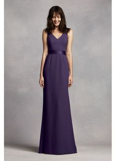 Long V Neck Crepe Gown with Open Back VW360195 -- beautiful open back. Very classy