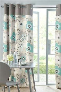 Next teal bold print eyelet curtains