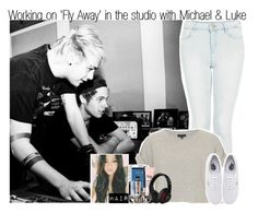 """Working on 'Fly Away' in the studio with Michael & Luke"" by itsrockyedwardstyles ❤ liked on Polyvore"