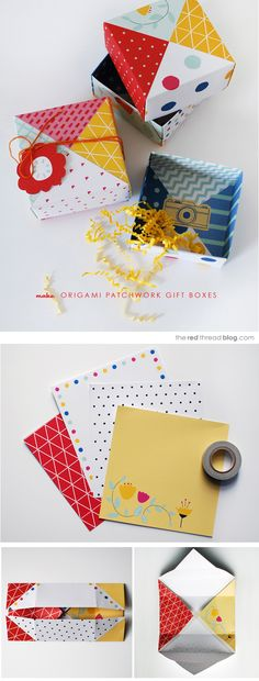 Patchwork origami box (step-by-step tutorial by Lisa Tilse): http://www.theredthreadblog.com/make-patchwork-paper-origami-gift-boxes