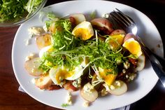 potatoes with soft eggs and bacon vinaigrette
