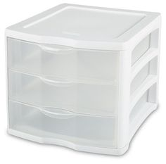 Sterilite 17918004 3 Drawer Unit, White Frame with Clear Drawers, Outside Dimensions: x 11 x Includes 4 Units Made in the USA Ergonomic drawer handles Units are stackable to create a multi-unit system