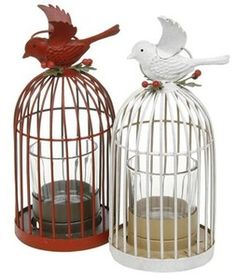 ♥ Nordic Metal Lovebird Birdcage Tealight Holder Choice Red or White. New ♥  Visit our family business...The Ginger Sheep £8.99