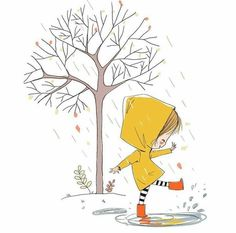 Play in the rain - - illustration Play in the rain – Top Trends Art And Illustration, Character Illustration, Doodle Art, Cute Drawings, Drawing Sketches, Drawing Art, Drawing Ideas, Doodles Bonitos, Cute Doodles