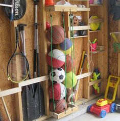 DIY Garage Storage Ideas & Projects : Great way to corral all those balls and st. DIY Garage Storage Ideas & Projects : Great way to corral all those balls and still be able to reac