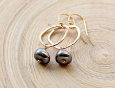 Gold Filled Earrings Gold Organic Ring and Light by EverywhereUR, $46.00