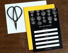 Black & White Invitations with French Paper Lemondrop Envelopes