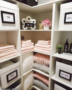 Mother reveals the incredibly organised linen closet - and products are from Kmart, Big W and IKEA Decor, Home Organization, Linen Closet, Interior, Closet Organisation, Linen Cupboard, Furniture Shop, Home Decor, Room Organisation
