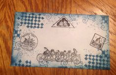 Decorated envelope, using Tim Holtz Distress Ink Pad and Palmer Cox Brownie Stamps from Maki Stamps, Stamps Galore and Stamp Francisco. By kathiellen.