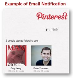 Example of Pinterest Email Notification. You follow someone and they get an email telling them about it.