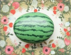 Cool hand-painted stone of af watermelon