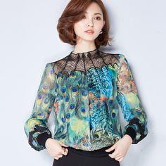 2017Spring Large Size Women Loose Chiffon Shirt Sleeved Print Korean Ol Occupation CY080