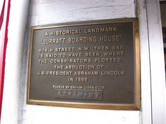 Surratt House Plaque