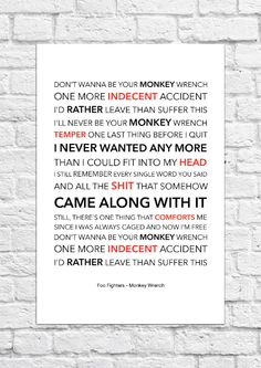 Foo Fighters - Monkey Wrench - Lyrical Song Art Poster