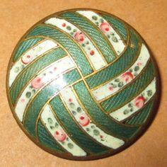 """Antique French Champleve Enamel Button  - Art Nouveau Flower Roses Design 1 1/8"""""""