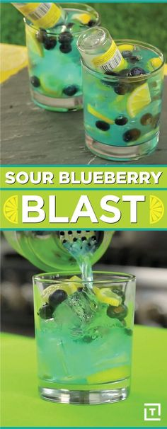This Sour Blueberry Blast Packs A Real Pucker Punch Pucker up for this sour blueberry blast, made with homemade blueberry lemon vodka, topped off with a mini bottle of citrus vodka for an extra boozy kick. Fancy Drinks, Bar Drinks, Non Alcoholic Drinks, Cocktail Drinks, Yummy Drinks, Cocktail Recipes, Beverages, Bourbon Drinks, Cool Drinks