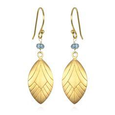 London Blue Quartz Peacock Feather Drop Earrings #PeacockCollection #SatyaJewelry