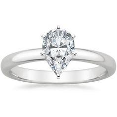Pear Cut 2.5mm Comfort Fit Solitaire Diamond Engagement Ring - Platinum