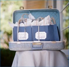 favor bags in a suitcase