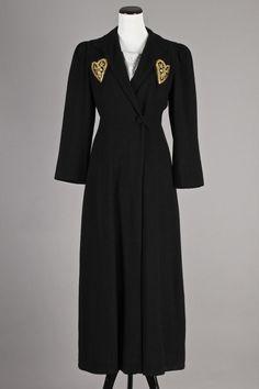S/M 1940s Full Length Vintage Black Wool Coat w/ Gold Heart Pockets. A lovely, LONG vintage wool coat w/ a beautifully slimming silhouette! $160 via eBay