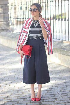 Inspirations pour porter le pantalon gaucho ou jupe-culotte - Look du jour