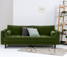 Scott 3 Seater Sofa, Grass Cotton Velvet Scott blends a sleek silhouette with a buttoned seat cushion for a statement look. Upholstered in plush velvet for an additional layer of sophistication. £999 | MADE.COM