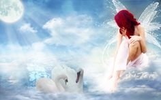 Fairy/angel and swans
