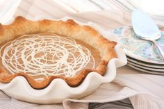 Butterscotch pie with White Chocolate drizzle Chocolate Drizzle, White Chocolate, Butterscotch Pie, Tart Shells, Fruit Pie, Pie Recipes, Just Desserts, A Food, Sweet Tooth
