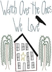 Watch Over The Ones We Love Sampler - 5x7 | Primitive | Machine Embroidery Designs | SWAKembroidery.com Homeberries Designs