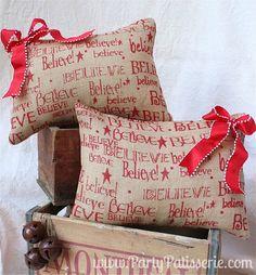 BELIEVE Burlap Christmas Pillow