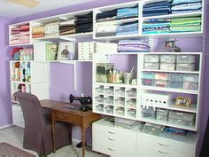 sewing room... I like it. Even to move it around a bit and make it a craft/scrap booking room. Craft Storage, Craft Organization, Fabric Storage, Wall Storage, Storage Ideas, Organizing, Storage Solutions, Craft Space, Craft Room Design