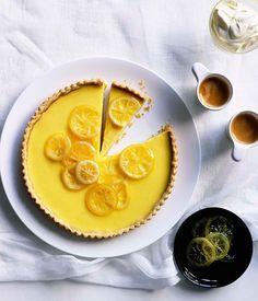 Australian Gourmet Traveller dessert recipe for lemon cream tart with candied lemons.