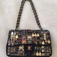 4d6f0a938512 AUTHENTIC CHANEL CLASSIC FLAP BAG EMBROIDERED WITH CHARMS Chanel Classic  Flap, Embroidered Bag, Chanel