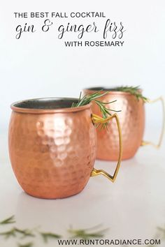 the best fall cocktail! It has gin, ginger liqueur, rosemary. Looks so cute and festive in the copper mug. Recipe from www.runtoradiance.com._0002