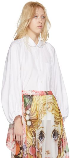 comme de garçons // white round collar shirt