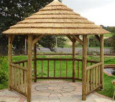 38m Classic Hexagonal Thatched Garden Gazebo Kit