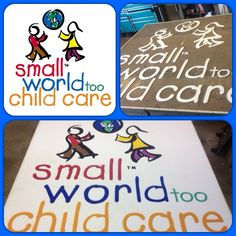 Just finished an 8'X8' logo in #polysoftsafetysurface for the Niagara Falls, NY Small World Too Child Care. Upper left hand corner is their PDF they gave us, next pic shows how we cut out plastic with CNC and then the finished logo. This will really set their splash pad from anyone else, we will be installing the full safety surface next Tuesday!! #splashpad #mysplashpad #daycarefun #splashpadfun