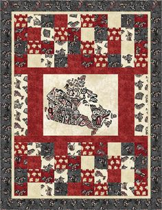 Oh Canada II Flag Quilt, Patriotic Quilts, Quilt Blocks, Canada Day 150, Modern Quilt Patterns, Quilting Patterns, Canadian Quilts, Quilts Canada, Place Mats Quilted