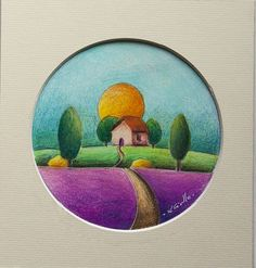 French country side whimsical cute painting by TightropeToTheMoon, $55.00