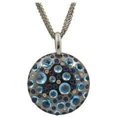 Rodney Rayner Blue Sapphire Blue Topaz Diamond Gold Pendant | 1stdibs.com
