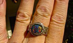 Unisex Genuine Australian Black Opal ring.Vivid by AmyKJewels