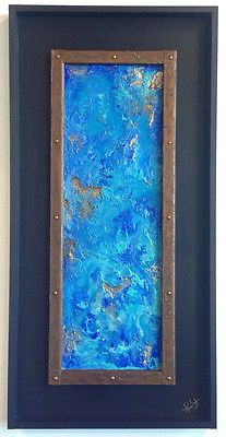 Double Framed Turquoise Textured Wall Decor, Abstract Art, Handmade Painting