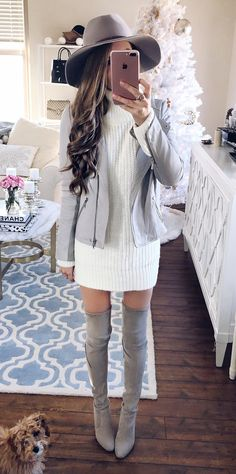sweater dress + moto jacket... so cute!