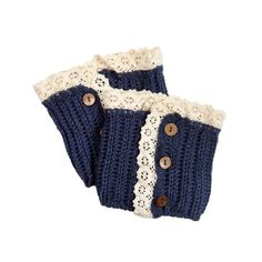 Boot Cuff - Blue with Lace