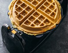 Center Stage: Icelandic Skyr Waffles with Rhubarb Syrup from Savory Tooth Hamilton Beach Waffle Maker, Rhubarb Syrup, Belgian Waffles, Waffle Iron, Waffle Recipes, Center Stage, Tooth, Europe, Baking