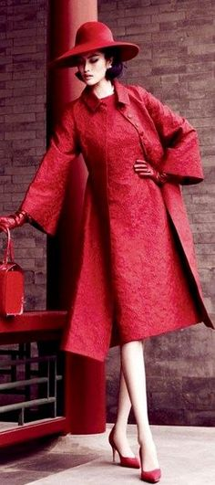 Chic in Red! Women's vintage fall winter sophisticated fashion clothing photography photo image
