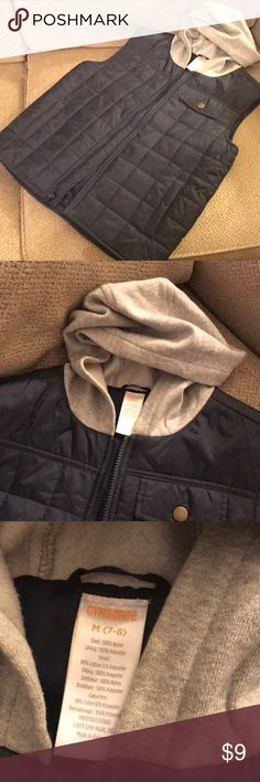 Gymboree Boys Navy Quilted Vest w/ a Gray Hoodie. Side pockets and zip closure. LIKE NEW!! Gymboree Jackets & Coats Vests