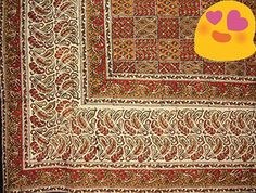 #trendy #BLOCK PRINT TAPESTRY ~ Authentic hand block printed #Kalamkari Indian tapestry or spread. Made of 100% power-loom cotton and measures approx. 108 x 88 in...